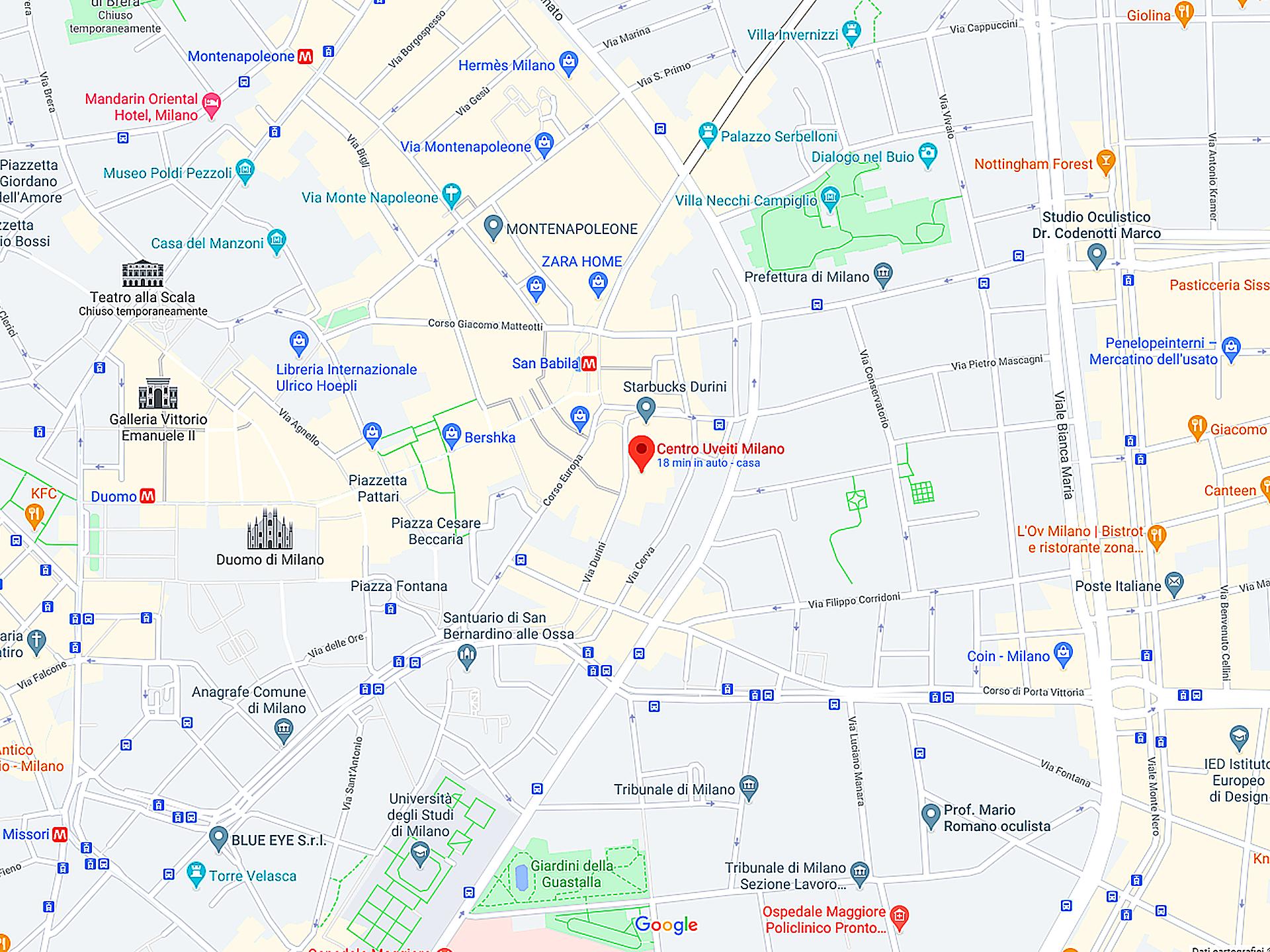 centro uveiti milano mappa